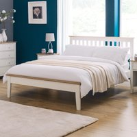 Salerno Ivory and Oak Finish Wooden Bed Frame - 4ft6 Double