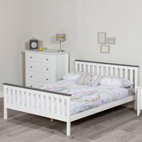 Shanghai White and Grey Wooden Bed Frame Only - 4ft6 Double