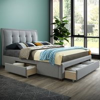 Shelby Grey Fabric 3 Drawer Storage Bed Frame - 5ft King Size