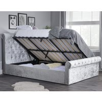 Sienna Steel Crushed Velvet Ottoman Storage Bed Frame Only - 5ft King Size