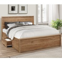 Stockwell Oak Wooden Storage Bed Frame - 4ft6 Double