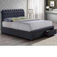 Valentino Charcoal Fabric 2 Drawer Storage Bed Frame - 4ft6 Double