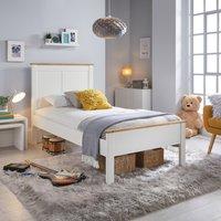 Wooden Bed Frame 3ft Single Vigo White and Oak