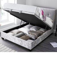 Walkworth Silver Velvet Fabric Ottoman Storage Bed Frame - 5ft King Size