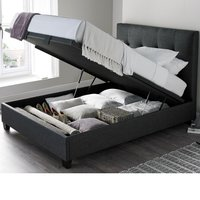 Walkworth Slate Fabric Ottoman Storage Bed Frame - 5ft King Size