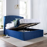 Warwick Blue Velvet Fabric Ottoman Bed Frame - 5ft King Size