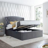 Warwick Grey Velvet Fabric Ottoman Bed Frame - 4ft6 Double