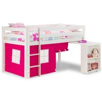Wendy White Wooden Mid Sleeper With Pink Tent Frame Only - 3ft Single