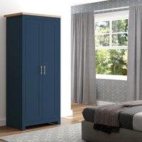 Winchester Navy Blue and Oak Wooden 2 Door Wardrobe