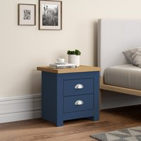 Winchester Navy Blue and Oak Wooden 2 Drawer Bedside Table