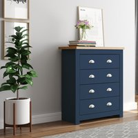 Winchester Navy Blue and Oak Wooden 4 Drawer Chest
