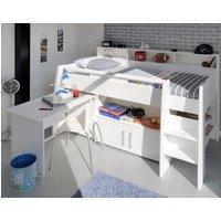 Swan White Wooden Mid Sleeper Bed Frame - EU Single