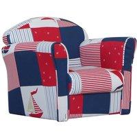 Children's Blue Patchwork Mini Armchair