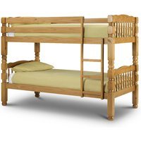 Chunky Antique Solid Pine Wooden Bunk Bed Frame - 3ft Single