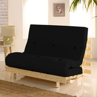 Metro Pine Wooden 2 Seater Chair/Folding Guest Bed with Black Futon Mattress - 4ft Small Double