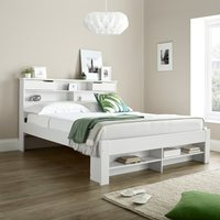 Fabio White Wooden Bookcase Storage Bed Frame Only - 4ft6 Double