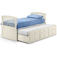 Hornblower Stone White Wooden 3 Drawer Storage Guest Bed Frame and Trundle - 3ft Single