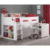 Jupiter White Wooden Mid Sleeper Cabin Bed Frame - 3ft Single