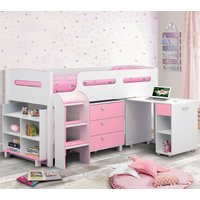 Wooden Kids Mid Sleeper Sleep Station Desk  Cabin Storage Bed Frame 3ft Single Kimbo Pink and White