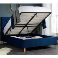Loxley Blue Velvet Fabric Ottoman Storage Bed Frame - 4ft Small Double