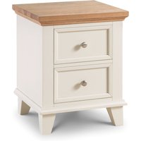Portland Stone White and Oak 2 Drawer Bedside Table