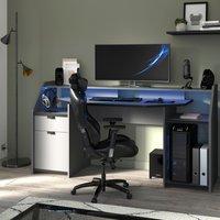 SetUp Large Grey Gaming Desk With LEDs