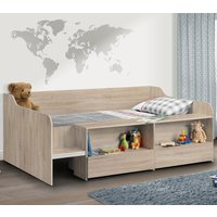 Stella Oak Wooden Kids Low Sleeper Cabin Storage Bed Frame - 3ft Single