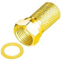 F-Stecker 7mm Breite Mutter Vergoldet mit Gummidichtung