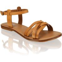 Fraiche Glattleder Klassische Sandalen braun