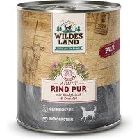 24 x 800 g | Wildes Land | Rind mit Distelöl PUR Adult | Nassfutter | Hund