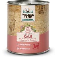 12 x 800 g | Wildes Land | Kalb mit Brokkoli, Hagebutte, Wildkräutern und Distelöl Classic Adult | Nassfutter | Hund