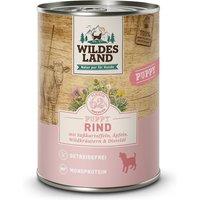 12 x 400 g   Wildes Land   Rind mit Süßkartoffel, Apfel und Wildkräutern Classic Puppy   Nassfutter   Hund
