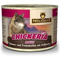 6 x 190 g | Wolfsblut | Chickeria Hühner- und Truthahnfilet mit Erdbeeren Adult | Nassfutter | Hund