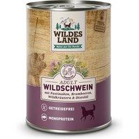 6 x 400 g | Wildes Land | Wildschwein mit Pastinake, Brombeeren, Wildkräutern und Distelöl Classic Adult | Nassfutter | Hund