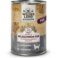 6 x 400 g | Wildes Land | Wildschwein mit Distelöl PUR Adult | Nassfutter | Hund