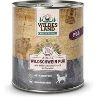 800 g | Wildes Land | Wildschwein mit Distelöl PUR Adult | Nassfutter | Hund