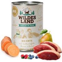 24 x 400 g | Wildes Land | Ente mit Süßkartoffeln BIO Adult | Nassfutter | Hund