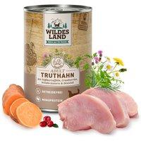 6 x 400 g | Wildes Land | Truthahn mit Süßkartoffel, Cranberries, Wildkräutern und Distelöl Classic Adult | Nassfutter | Hund