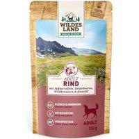 8 x 150 g | Wildes Land | Rind mit Süßkartoffeln, Heidelbeeren, Wildkräutern und Distelöl Classic Adult | Nassfutter | Hund