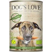 12 x 400 g | Dog's Love | Greens Vegan mit Gemüse und Obst Bio | Nassfutter | Hund