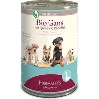 6 x 400 g | Herrmanns | Welpe Bio-Gans mit Spinat und Kartoffeln Selection | Nassfutter | Hund