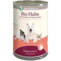 6 x 400 g | Herrmanns | Adult Bio-Huhn mit Fenchel, Zucchini und Buchweizen Selection | Nassfutter | Hund