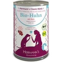 24 x 400 g | Herrmanns | Bio-Huhn mit Reis Classic | Nassfutter | Hund