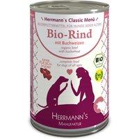 24 x 400 g | Herrmanns | Bio-Rind mit Buchweizen Classic | Nassfutter | Hund