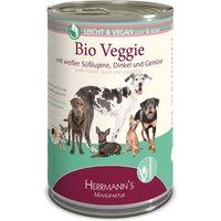24 x 400 g | Herrmanns | Vegan Bio-Veggie mit weißer Süßlupine, Dinkel und Gemüse Kreativ-Mix | Nassfutter | Hund