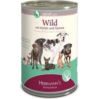 12 x 400 g | Herrmanns | Leicht Wild mit Kürbis und Quinoa Selection | Nassfutter | Hund