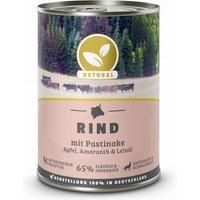 6 x 400 g | Natural | Rind mit Pastinake, Apfel und Amaranth | Nassfutter | Hund