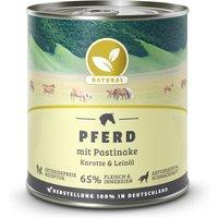6 x 800 g | Natural | Pferd mit Pastinake, Karotte und Leinöl | Nassfutter | Hund