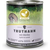 24 x 800 g | Natural | Truthahn mit Kürbis, Apfel und Leinöl | Nassfutter | Hund