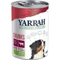 24 x 820 g | Yarrah | mit Rind, Brennnessel & Tomate Bröckchen | Nassfutter | Hund